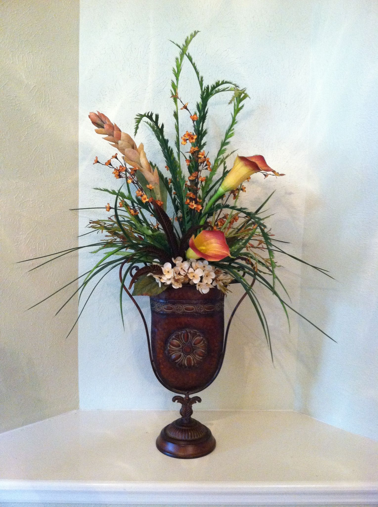Faux silk tall tropical arrangement featuring ginger