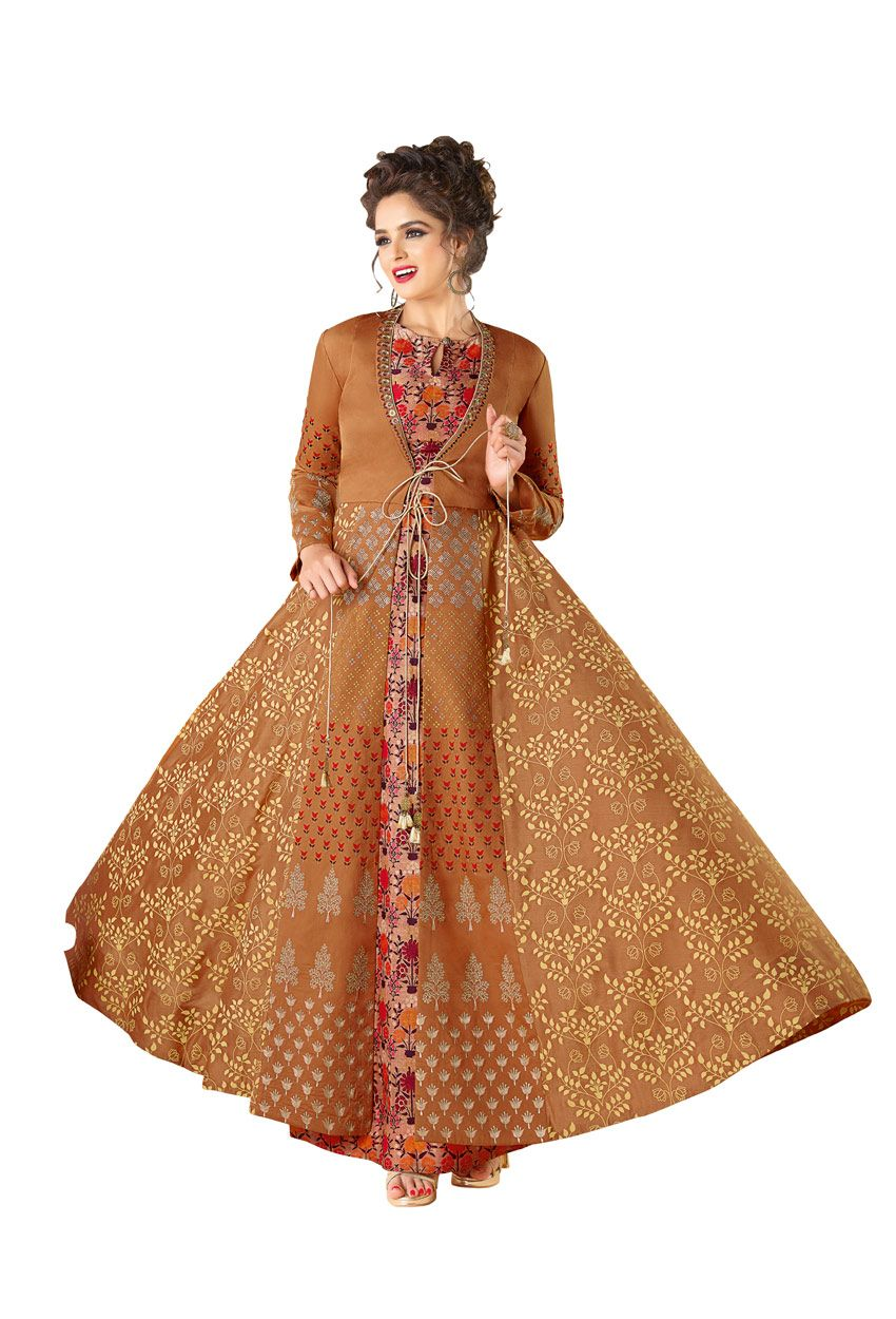 Readymade cotton party wear gown in light brown readymade salwar