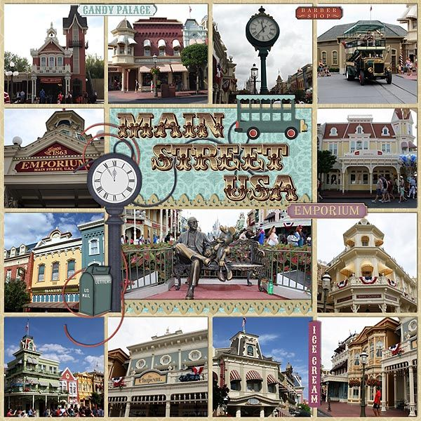 """""""Main Street USA"""". I love that she has so many pictures on the page, but there's still paper and embellishments."""