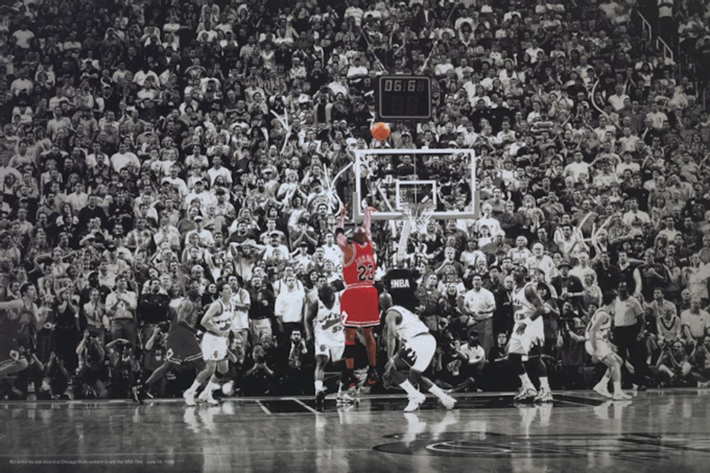 new products 00263 8f9e6 Michael Jordan Title Winning Last Shot Poster