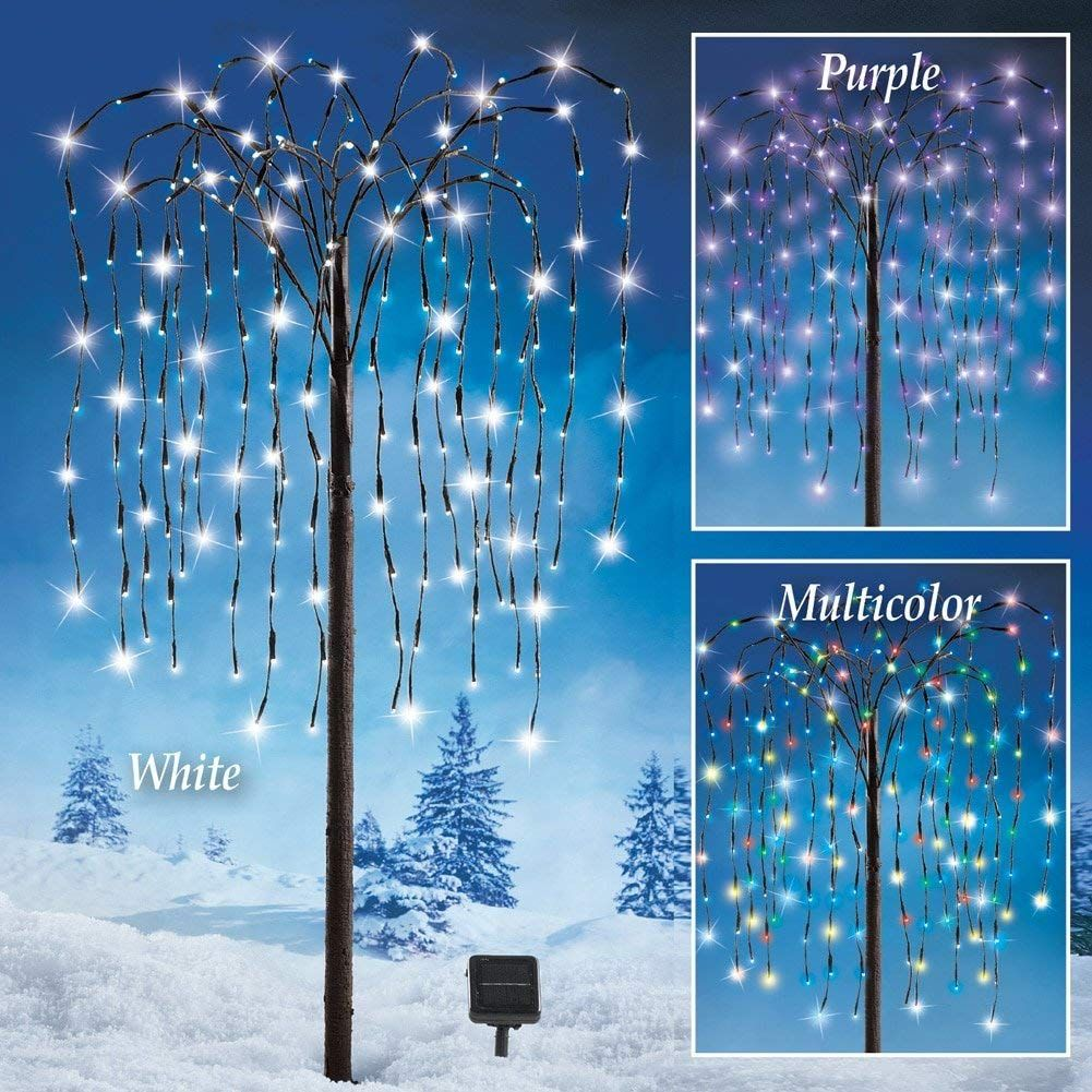 Outdoor Decorations Artificial Willow Tree With Solar Powered Lights Lawn Garden Patio Deck White Lights Mult Solar Tree Solar Lights Garden Solar Lights