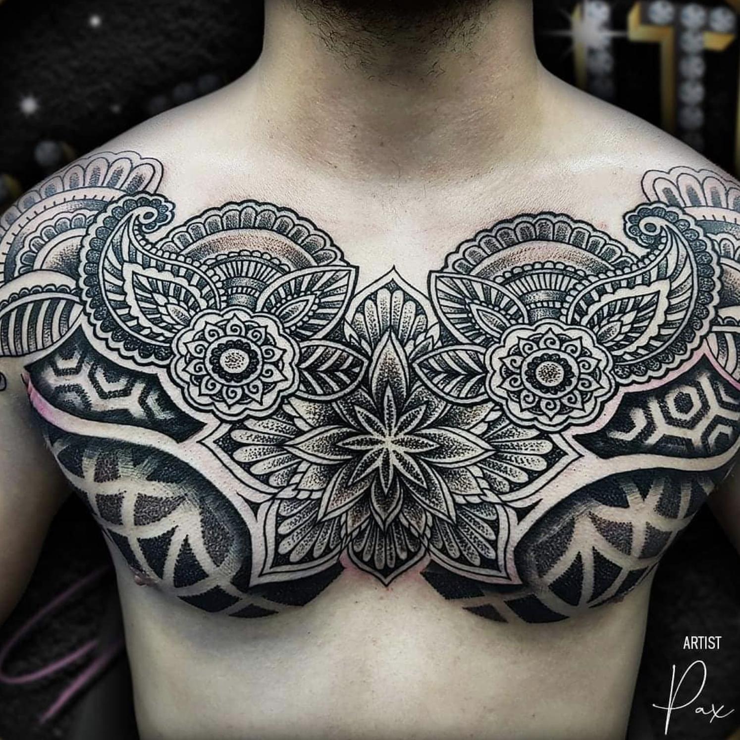 Tattoo By Pax Chest Piece Tattoos Geometric Tattoo Chest Chest Tattoo Men