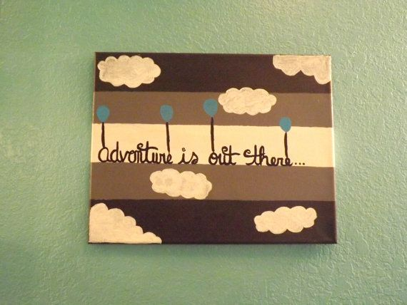 Adventure is Out There Hand Painted Canvas, Stripe Wall Decor ...