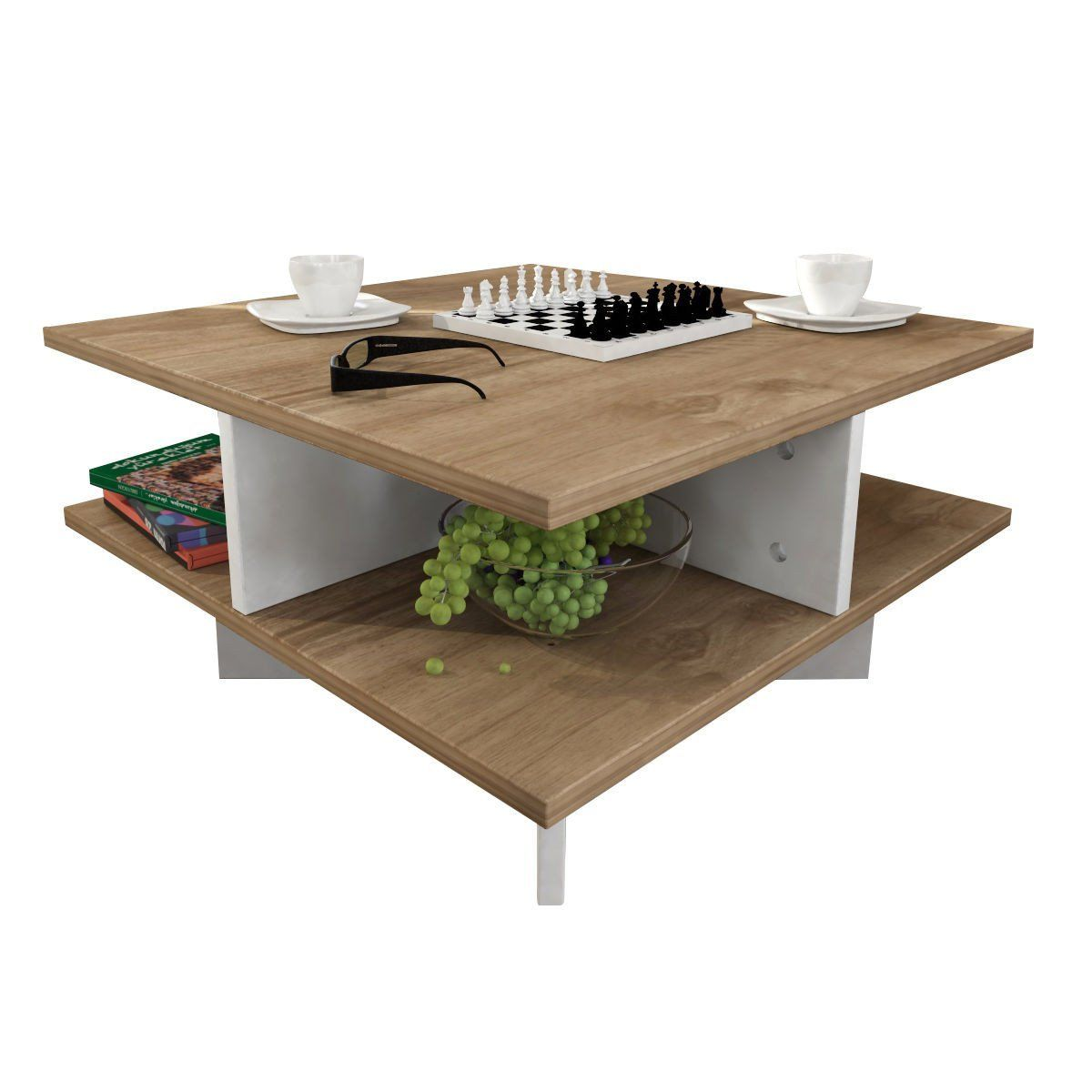 Lamodahome Modern Coffee Table Whitebrown Wooden Appearance Square Cocktail Table With Storage Multi F Coffee Table Modern Coffee Tables Square Cocktail Table [ 1200 x 1200 Pixel ]