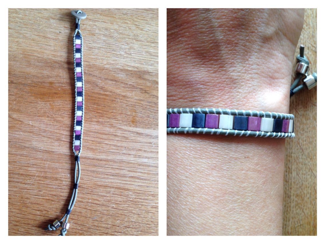 Miyuki tila beads armband met leer.  Ik verkoop ze op mijn Facebookpagina voor €7,50