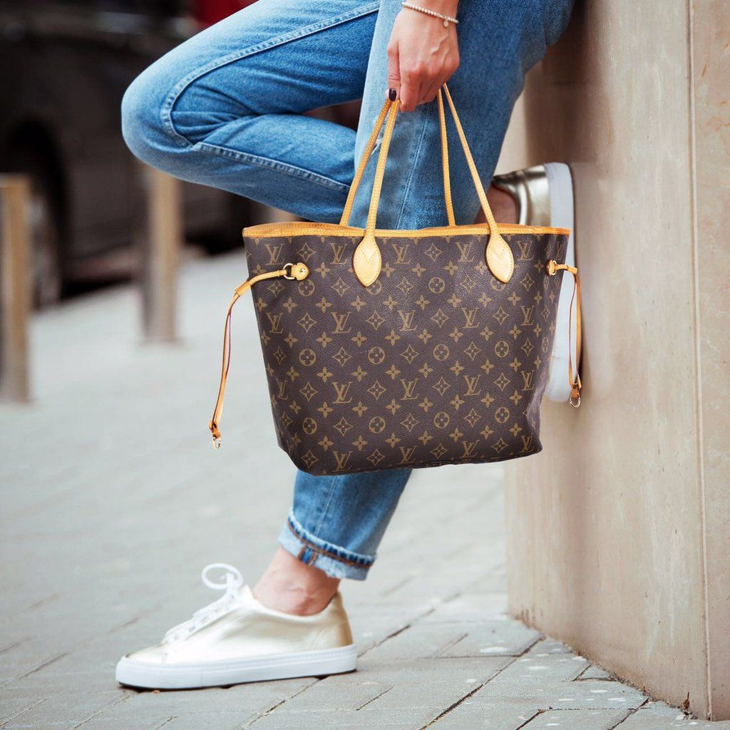 Grey Purse Brown Shoes