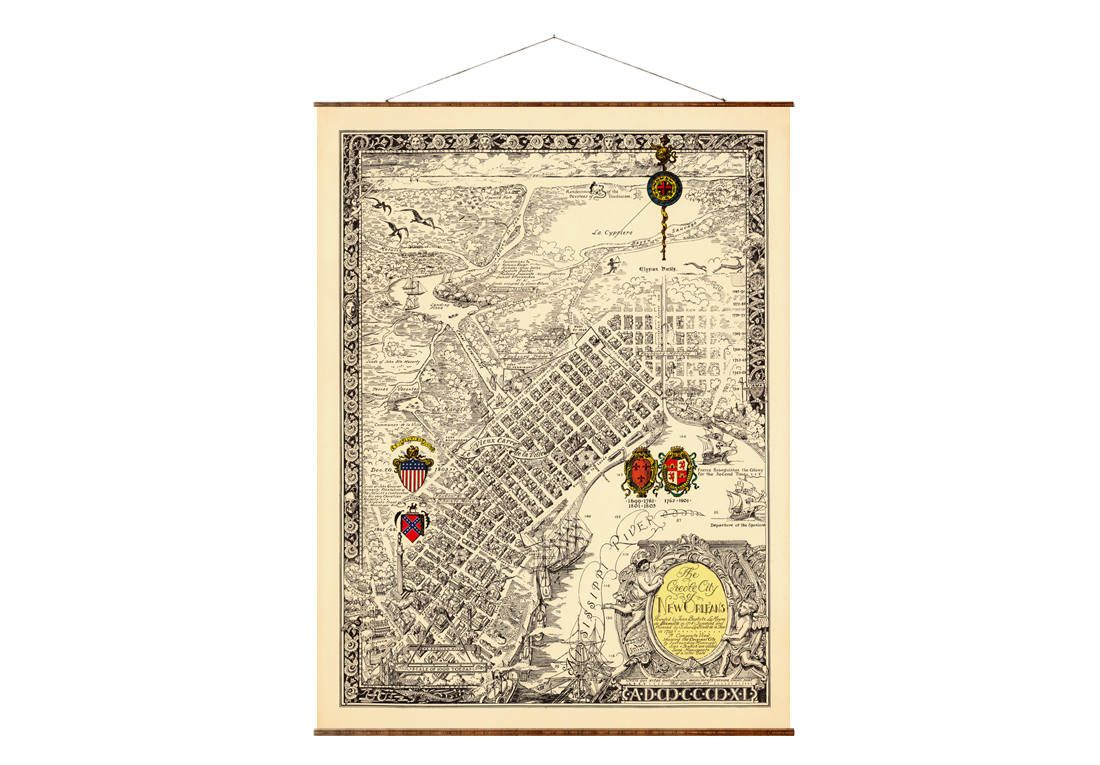 HD Decor Images » Map of New Orleans  32 x44   Canvas Map  old vintage map  New     Map of New Orleans  32 x44   Canvas Map  old vintage map