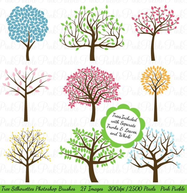 Tree Silhouettes Photoshop Brushes - Luvly Marketplace   Premium Design Resources #branch #trees #clipart