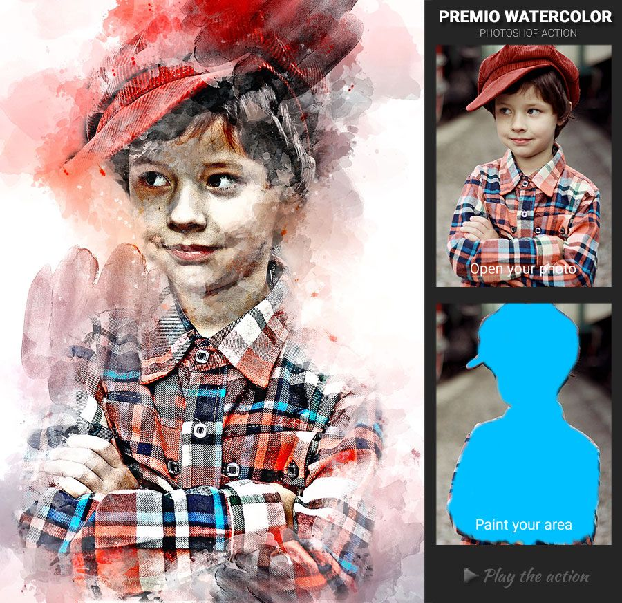 Premio Watercolor Photoshop Action Watercolor Photoshop Action