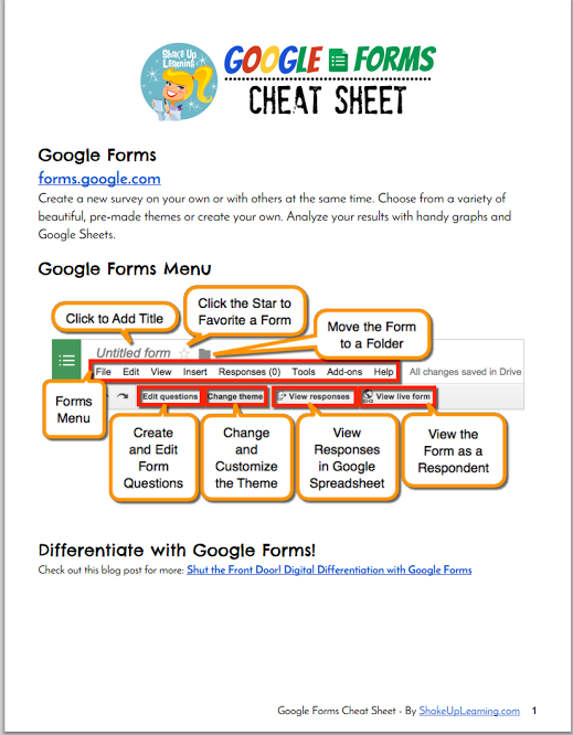 Google Forms Cheat Sheet Google forms, Educational