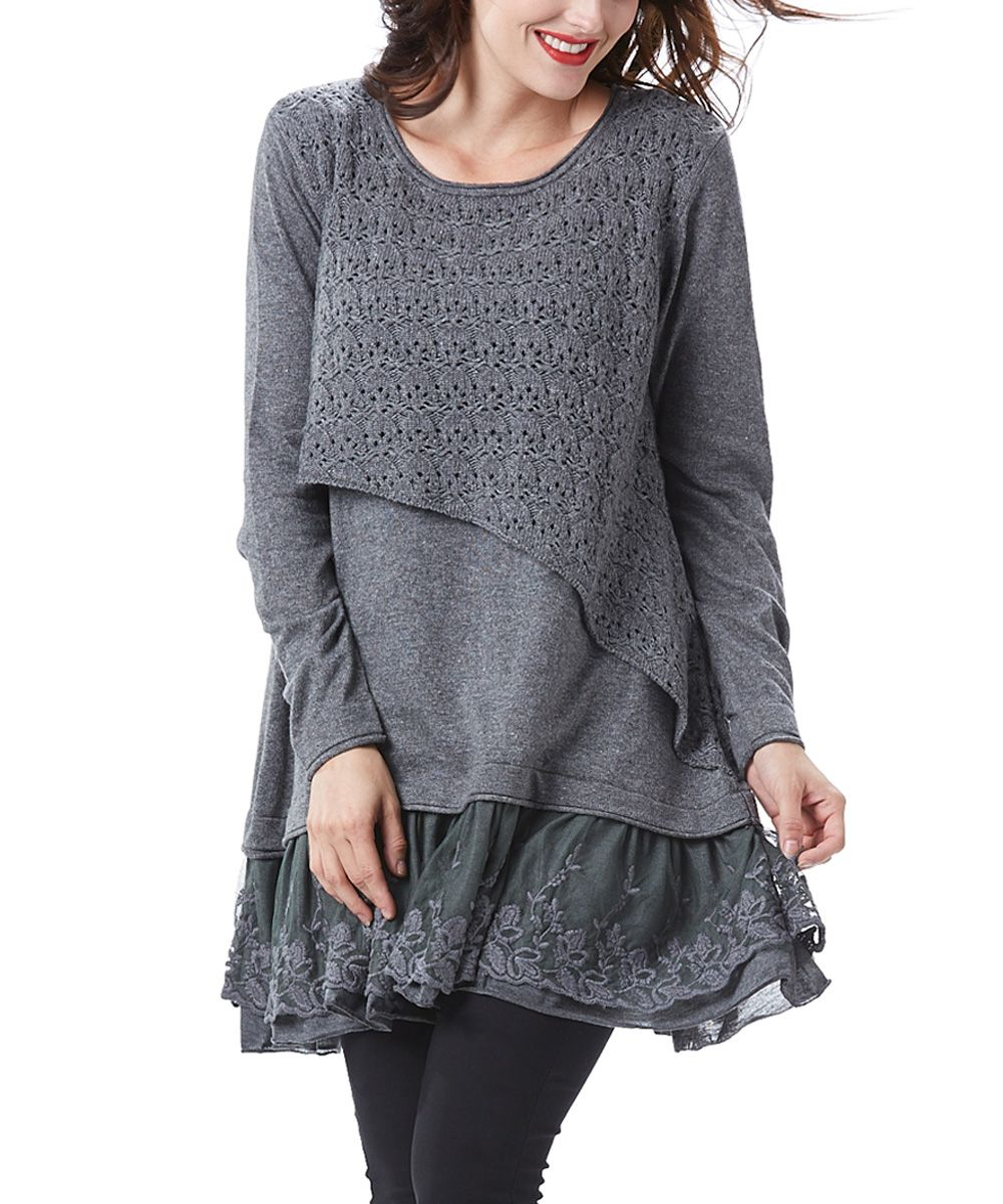 Simply Couture Gray Asymmetrical-Crochet Lace-Layered Tunic ...