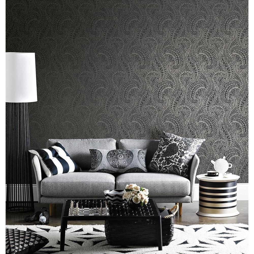 H Daraxa Black Paisley Wallpaper Sample