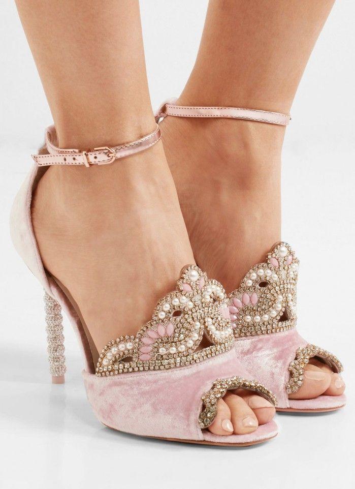 bce91cc619e1 SOPHIA WEBSTER Royalty embellished velvet and metallic leather sandals - Shoes  Post