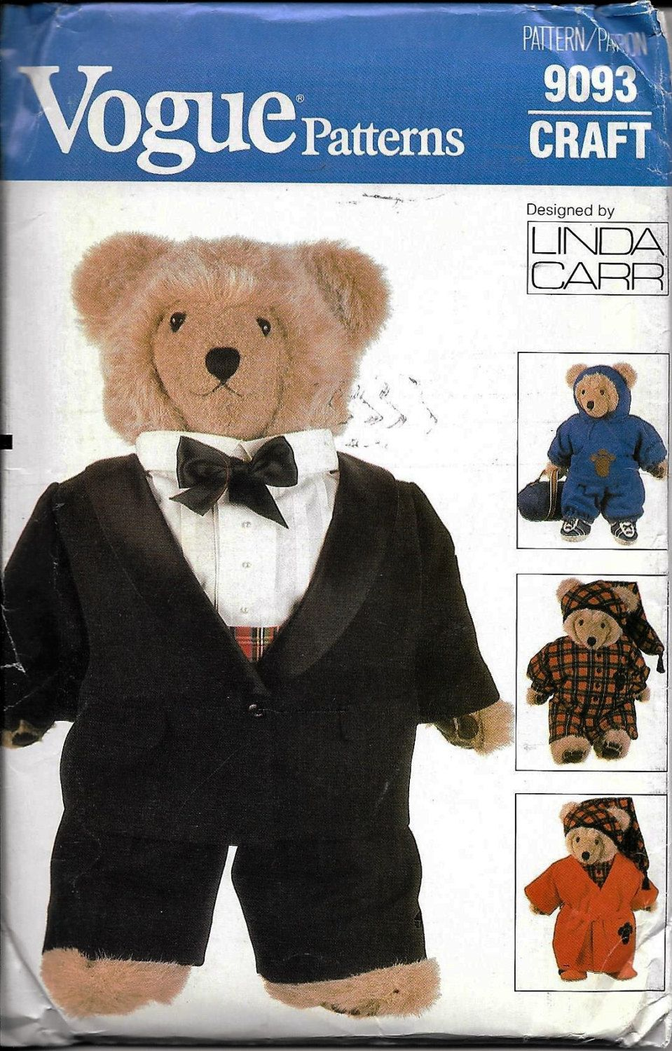 Vogue Craft Stuffed Teddy Bear Clothes Sewing Pattern 9093 Uncut ...