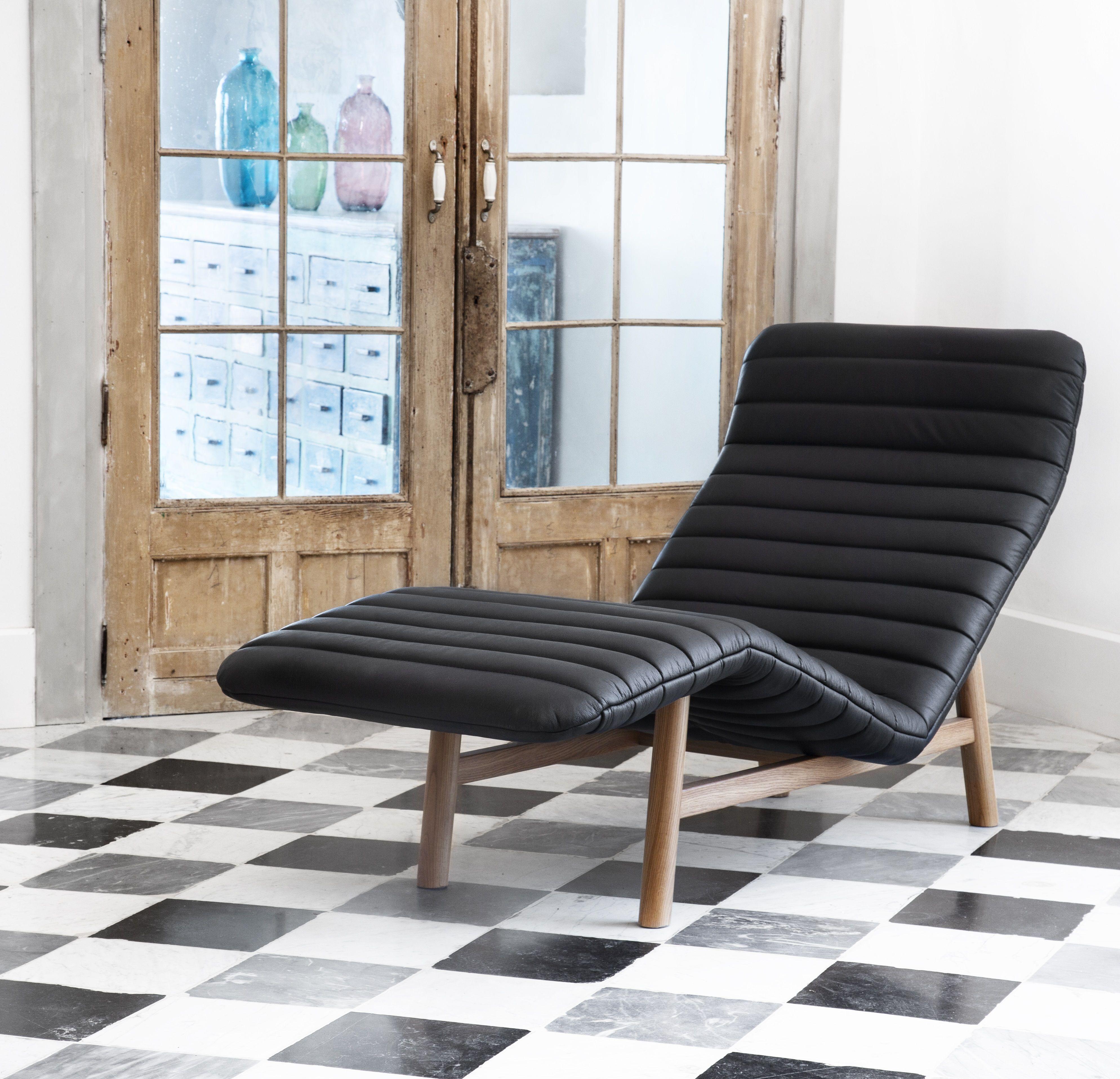 Salon Cuir Buffle Italien jacques chaise longue en cuir - noir | mobilier de salon