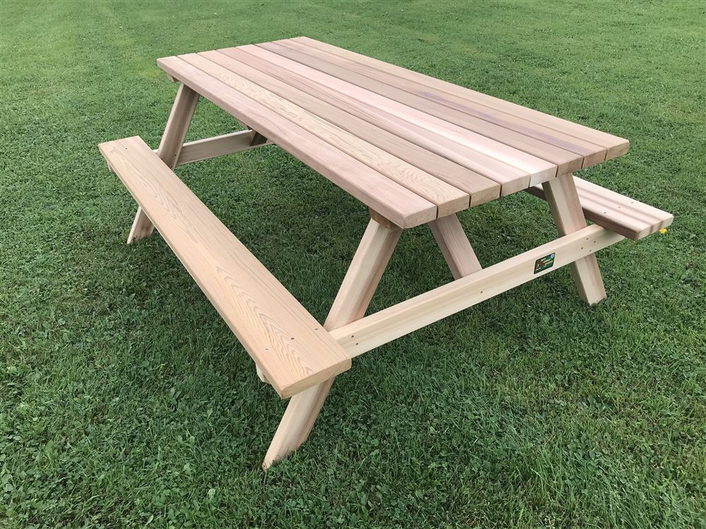 Basic 6 Picnic Table W Attached Benches Western Red Cedar With Images Picnic Table Octagon Picnic Table Picnic Table Plans