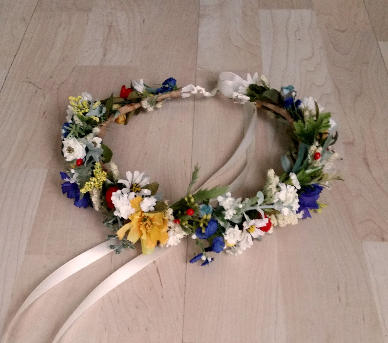 Bridal Flower Crown September Wedding Halo Accessories Multi Color Wildflower Hair Wreath Set Of 4 Blue Yellow Red Custom For Samantha