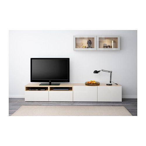 Best Tv Storage Combinationglass Doors White Stained Oak Effect