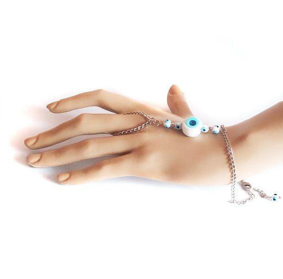 Blue evil eye bead slave bracelet Hand Bracelet by selenayselenay, $23.00