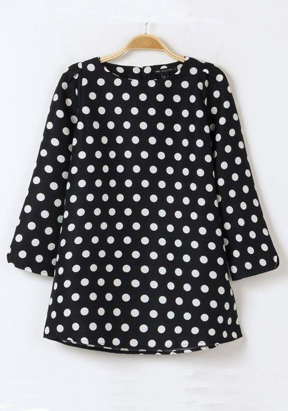94bbea1f65bf1 Multicolor Polka Dot Print Seven s Sleeve Polyester Blouse