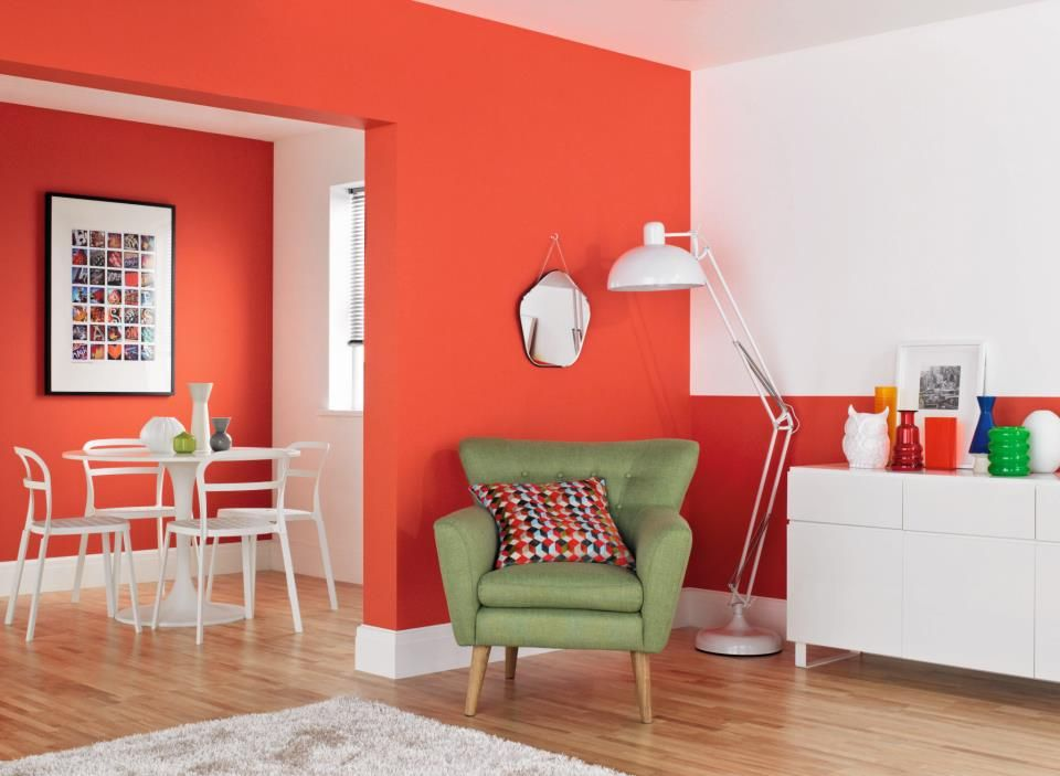 Try splashing bold colours on walls cuban heat from - Crown paint colours for living room ...