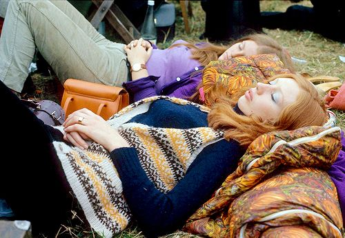 Hippies at the Isle of Wight music festival, 1969