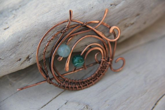 Wild berries copper and agate wire wrap shawl by Keepandcherish, $35.00