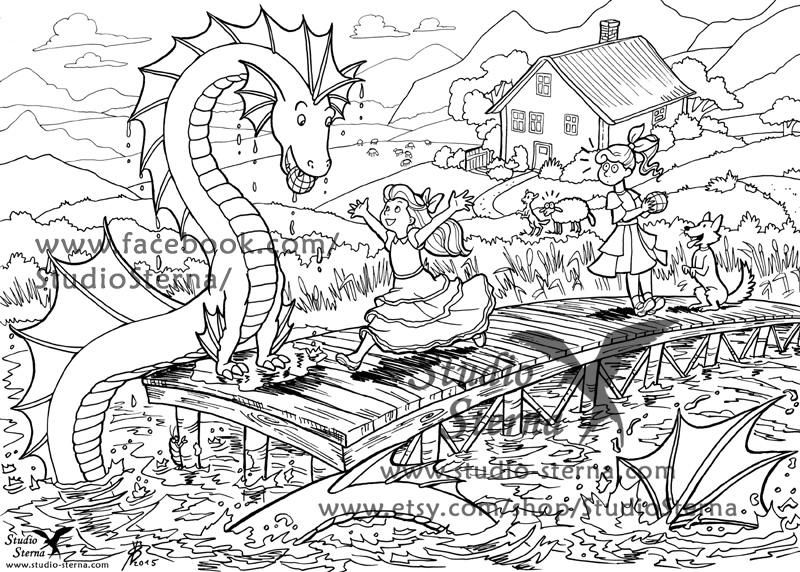 Water Dragon fantasy drawing instant download file color in print ...