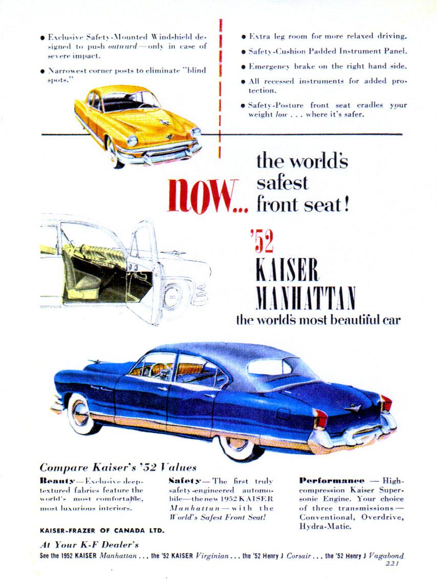 1952 Kaiser Manhattan | Kaiser car | Pinterest | Cars, Car posters ...