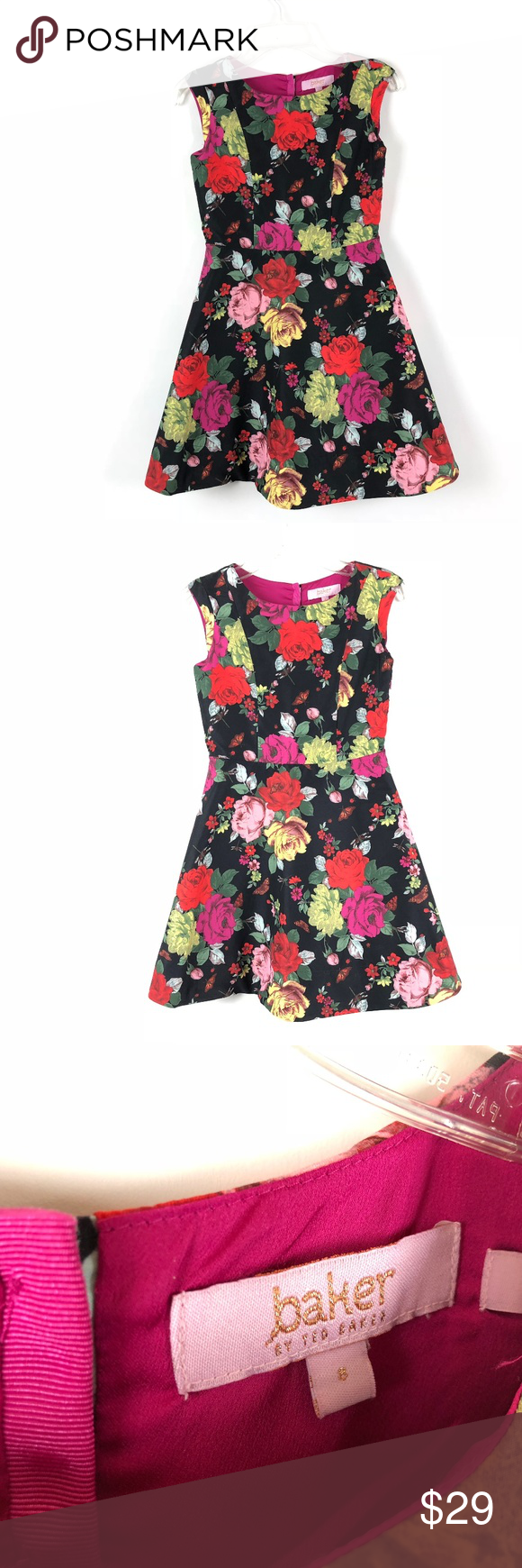 539210ef3ff83 Baker by Ted Baker Girls dress floral roses 8 kids Baker by Ted Baker Girls  dress