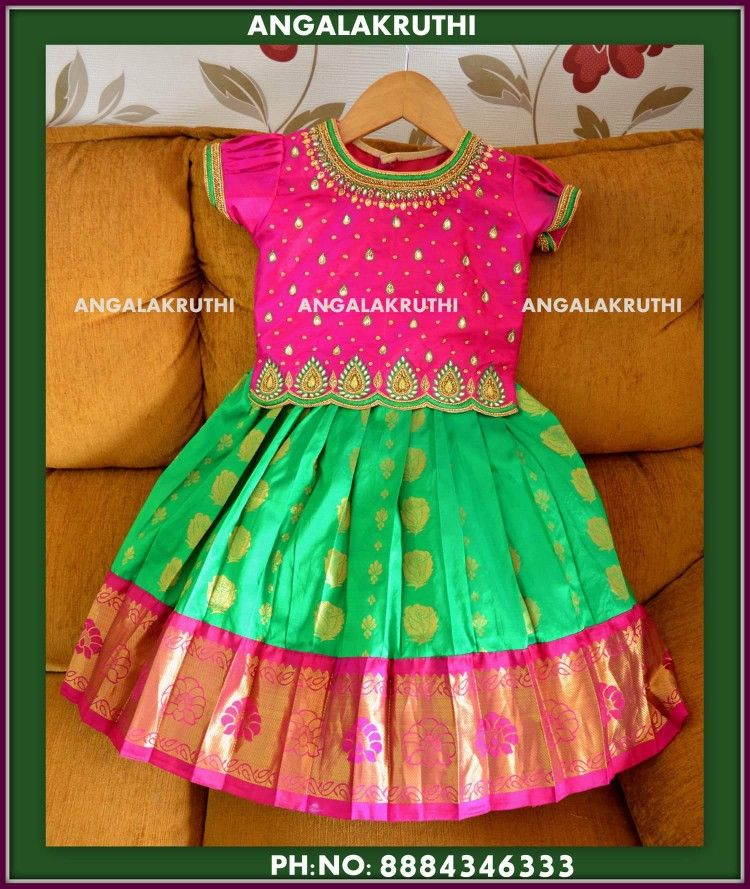 Pattu Pavada Designs By Angalakruthi Boutique Bangalore Watsapp 91 8884347333 Kids Silk Pavada Designs Kids Blouse Designs Kids Frocks Design Kids Dress Wear