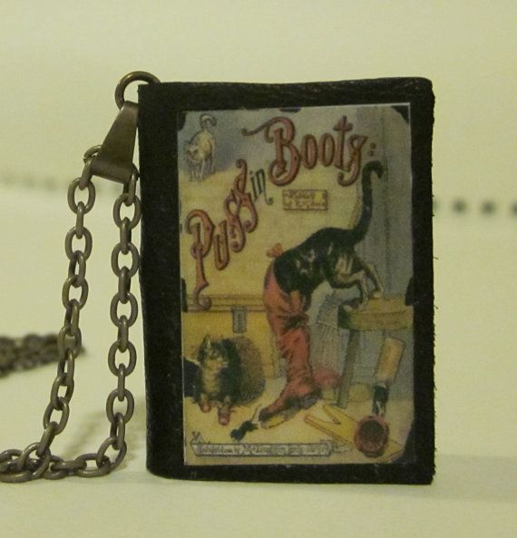 Miniature Leather Book Necklace  Vintage Puss 'n by TheBookCellar, $24.00