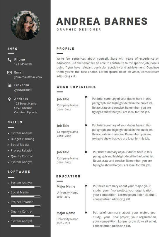 Resume Template Word Instant Download 2 Page Professional Modern Creative Cv Design A4 Letter Curriculum Vitae Cover Letter Creative Cv Resume Template Cv Design