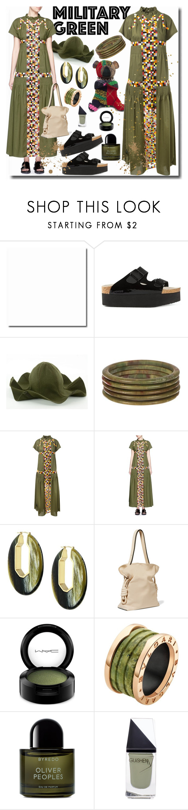 """""""Military Green"""" by emperormpf ❤ liked on Polyvore featuring mode, Sacai, Louise et Cie, Loewe, MAC Cosmetics, Bulgari, Byredo et GUiSHEM"""