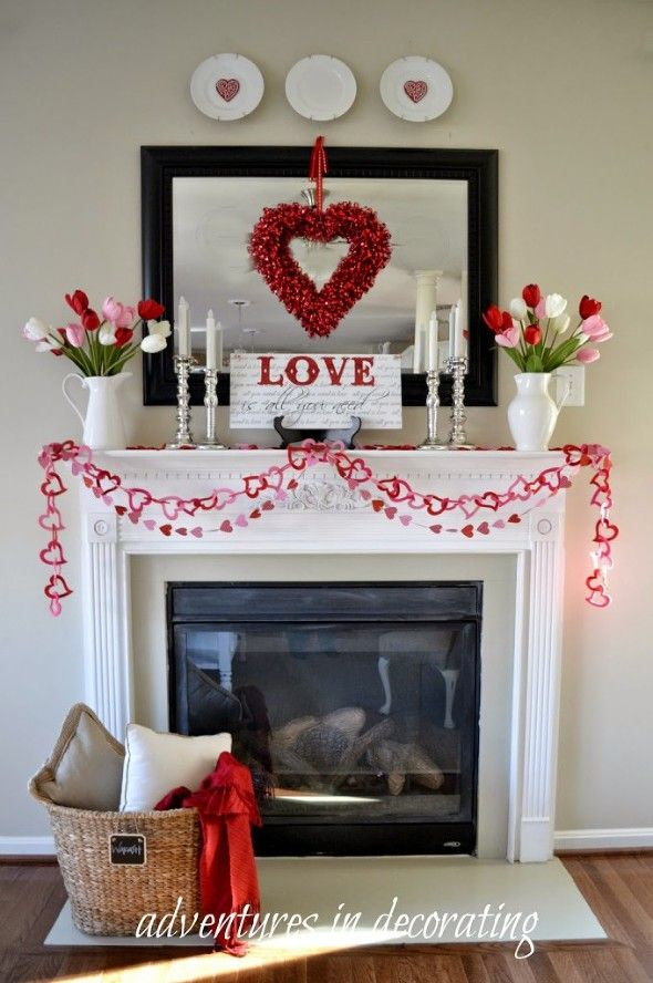 Fireplace Mantels Decorated For Valentines Day
