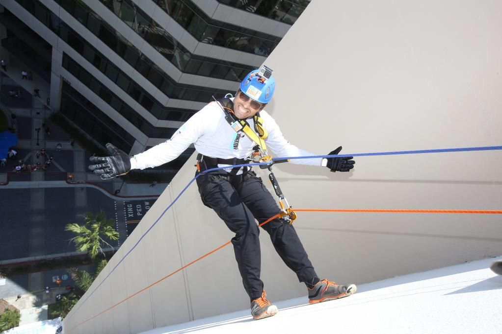 Me, 15 stories off the ground. My expression is not a smile, that's the look I have when I'm pooping in my pants.