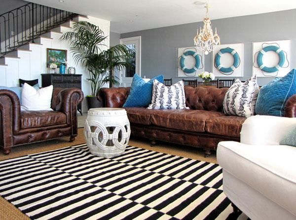 living room color schemes with brown carpet - Brown And Blue Living Room