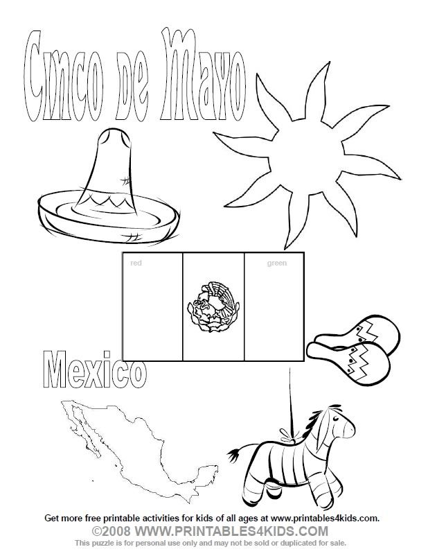 Cinco De Mayo Coloring Page Printables For Kids Free Word