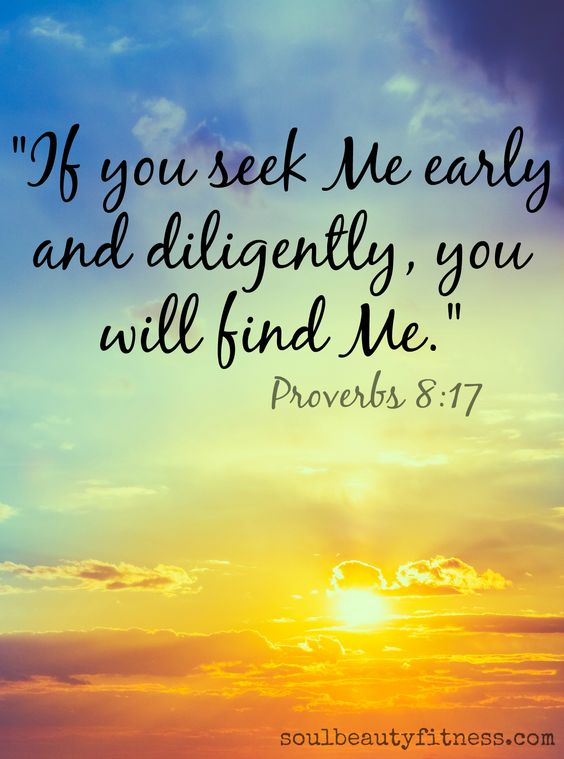 If you seek me early and diligently, you will find Me  | GOD