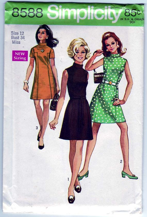 FREE SHIPPING Vintage 1969 Simplicity 8588 UNCUT Sewing Pattern ...