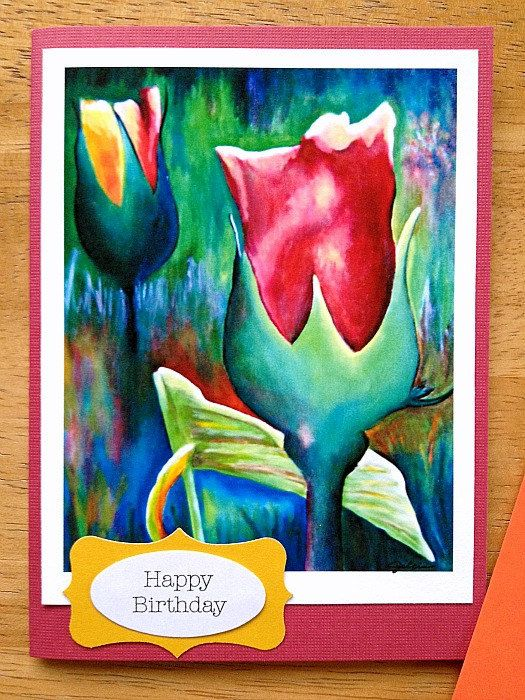 Happy Birthday Colorful Rose Flower Art Print Small Greeting Card By ASteadyPaceStudio 450