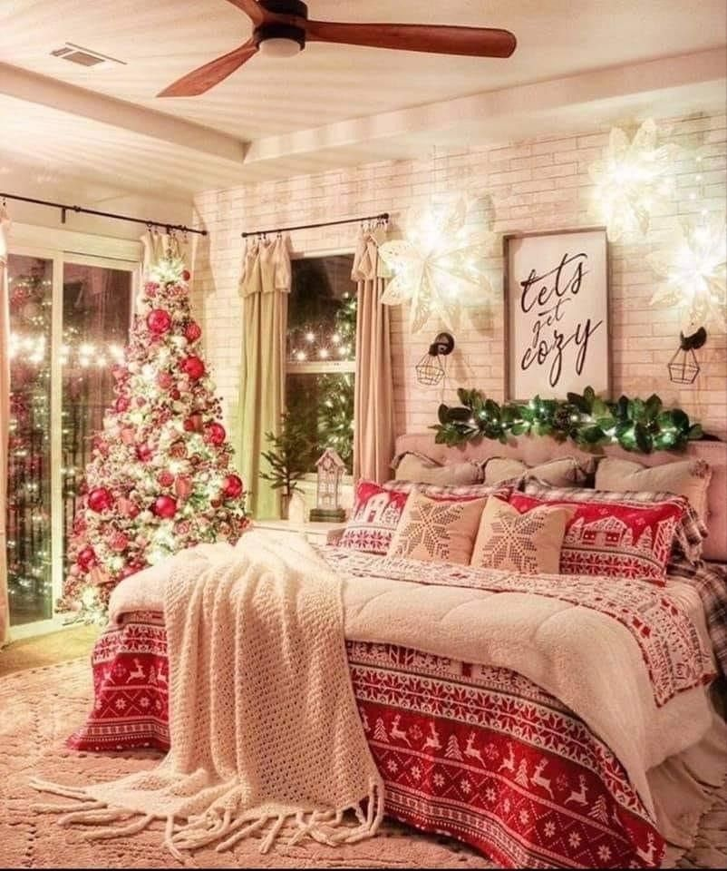 Christmas All Year Round Would You Decorate Your Bedroom For Christmas In 2020 Christmas Decorations Bedroom Christmas Bedroom Christmas Decor Inspiration