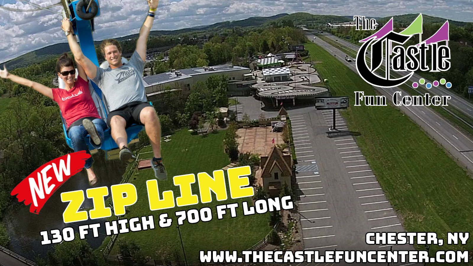 Zip Line At The Castle Fun Center In Chester Ny Hudson Valley Orange County New York Amusement Park Www Thecast Ziplining Zip Line Ride Family Entertainment