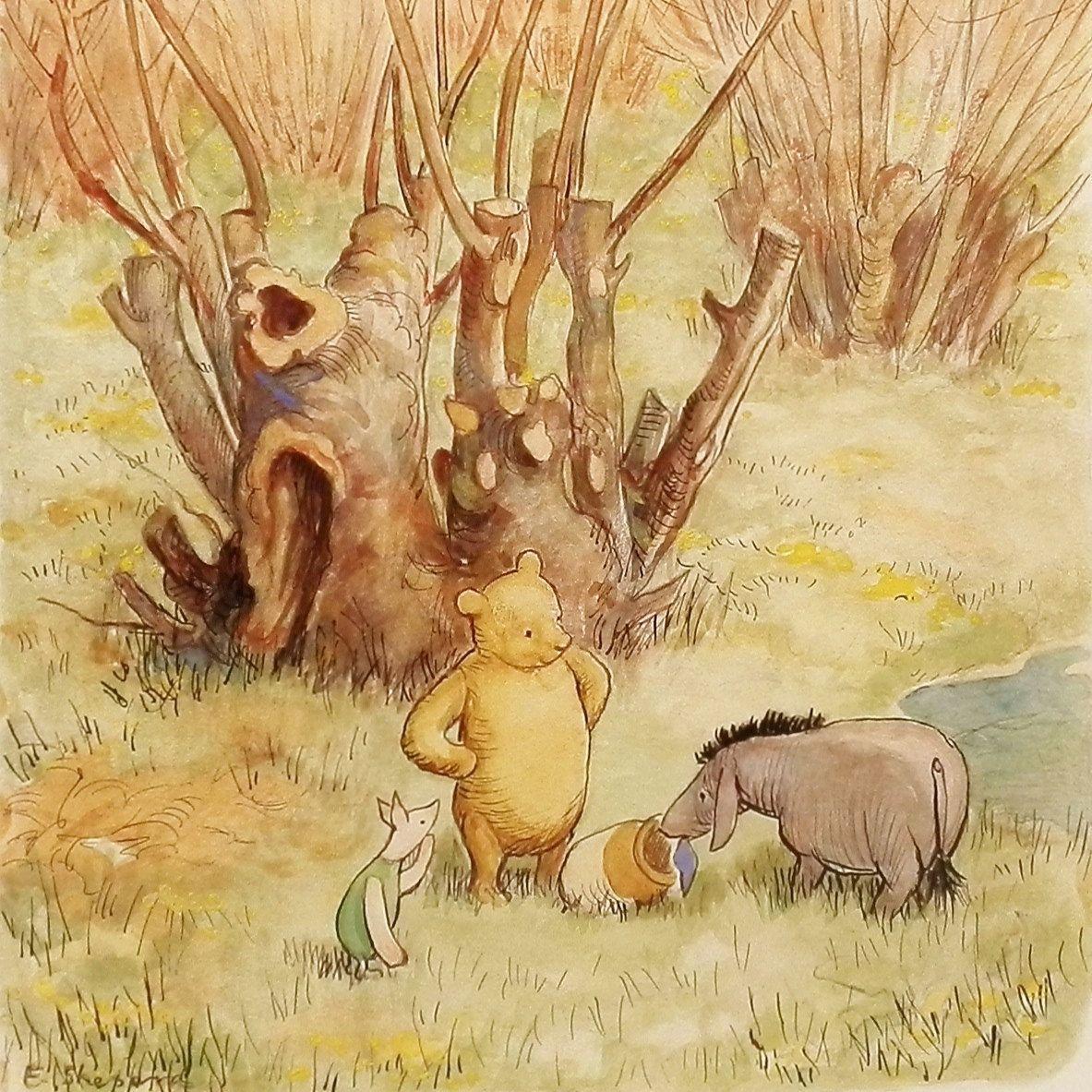 Classic Winnie the Pooh Nursery Print (Girls Decor, Boys Room Wall ...