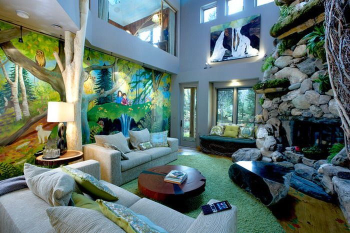 Colorful Jungle Wall Murals In Themed Living Room Design