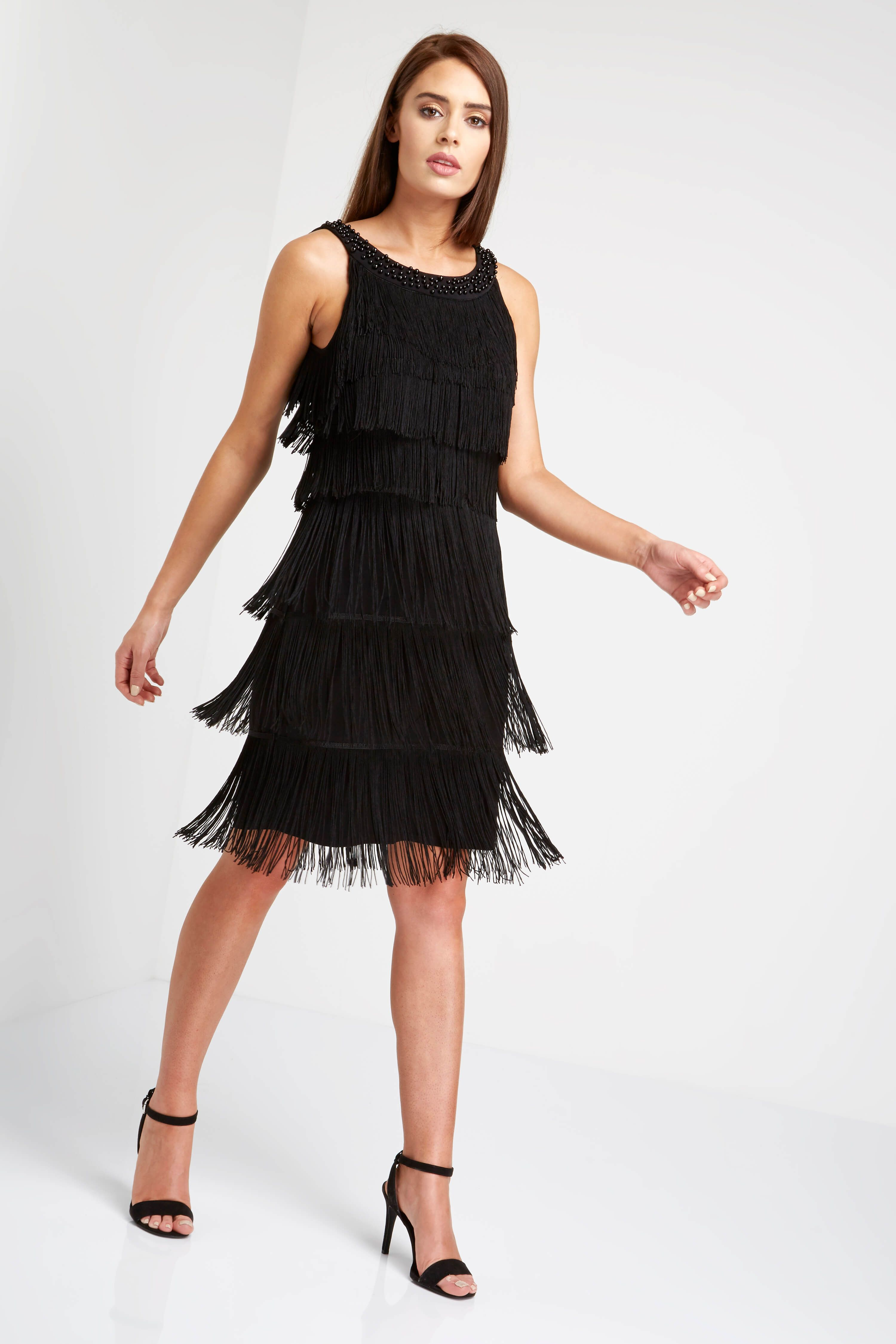 6a26082168cb Embelished Flapper Dress - Free UK Delivery - 10 12 14 16 18 20 - A layered  fringe dress with a chic sequin trim neckline, this fully lined flapper  dress is ...