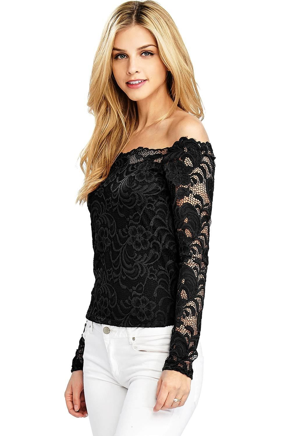 2ef91c05dc08b0 Cropped long sleeve lace top with scalloped off the shoulder neckline.  Fully lined body with sheer lace sleeves. Looks great with jeans or dressed  up with ...