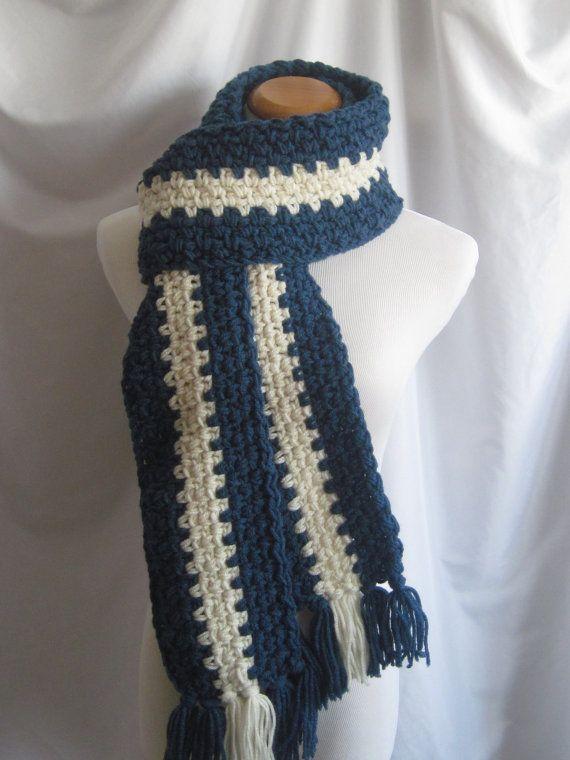 Bufanda Extra larga Crochet en Windsor azul y blanco | buf ...
