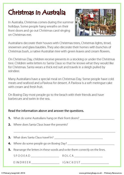 Primaryleap Reading Comprehension Christmas In Australia