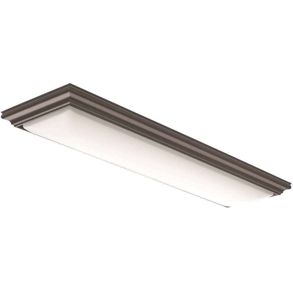 Lithonia Lighting Vanderlyn 4 Ft Brown Led Flush Mount Fmfl 30840 Vanl Bz The Home Depot In 2020 Kitchen Ceiling Lights Led Flush Mount Flush Ceiling Lights